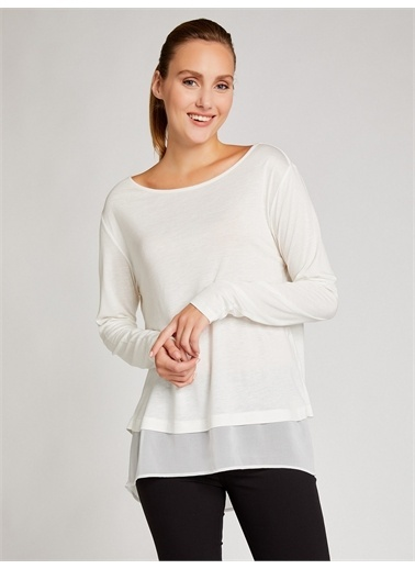 Vekem-Limited Edition Şifon Detaylı Yünlü Basic Bluz Beyaz